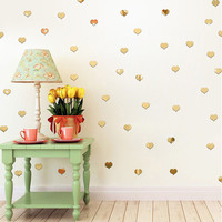 100pcs 3D Heart Wall Sticker Self Adhensive Silver Gold Wall Stickers Acrylic Mirror Decals for Home Decoration wallpaper