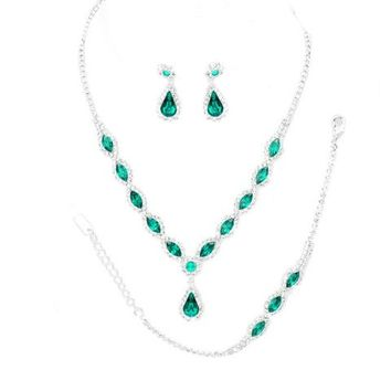 Emerald Clear Oval Teardrop Rhinestone Set 3 Pcs Jewelry set