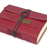 Red Faux Leather Journal with Love Bookmark