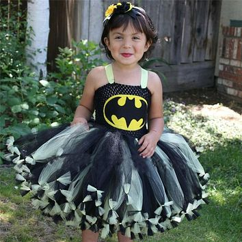 Superhero Kids Girl Batman Dresses for Christmas Children Cosplay Tutu Dress Ball Gown Vestido Infantil New Year Baby Gift
