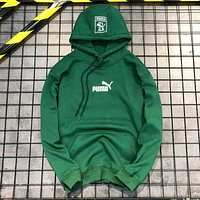 PUMA Autumn And Winter Fashion New Embroidery Bust And Hat Letter And Back Pattern Print Women Men Hooded Long Sleeve Top Sweater Green