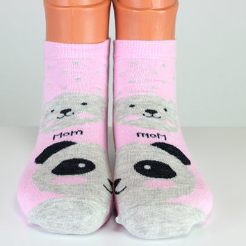 Teddy Bear Socks Mom Socks Pink Socks Grey Bear Socks Cute Socks Girls Socks Women Socks Funny Socks Ankle Socks Animal Socks Cute Fun Socks