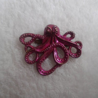 Pink   Octopus bronze  brooch  pin