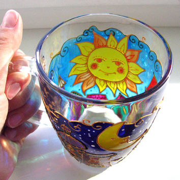 Hand painted Coffee Mug the Sun and the Moon City