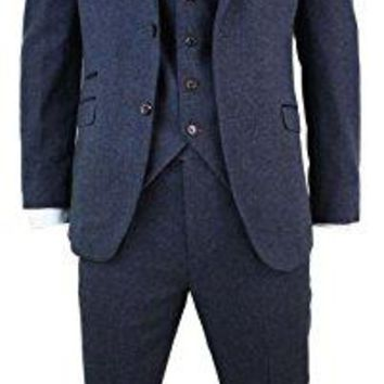 Cavani Mens 3 Piece Wool Blend Herringbone Tweed Suit Blue Brown Vintage Tailored Fit navy 36