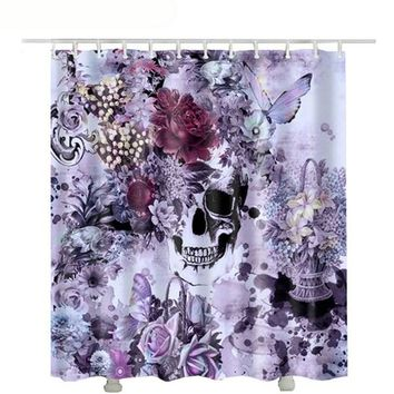 Polyester shower curtain skull waterproof new butterfly rose  shower curtain flowers