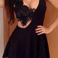 Black Cut-Out Lace Skater Dress