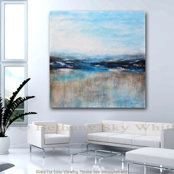 Original Large Abstract Painting Modern Art 48x48 L Blue Acrylic Free Shipping Ready