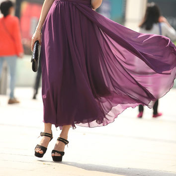 Chiffon Full Skirt-Spring Long Skirt Front Split Ends Chiffon Skirts Maxi Skirt Summer Prom Skirt In Purple(103)