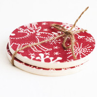 "Wooden round coasters ""Rudolph"", set of 2 pieces - Handmade, organic, natural, home decor, Christmas, gift ideas, under 20"