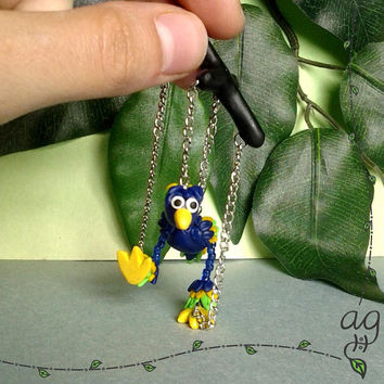 Bird Marionette Miniature Figurine--Blue, Neon Green, & Yellow Handmade Polymer Clay