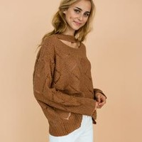 'Silvia' Brown Eyelet Choker Neck Knitted Lightweight Sweater