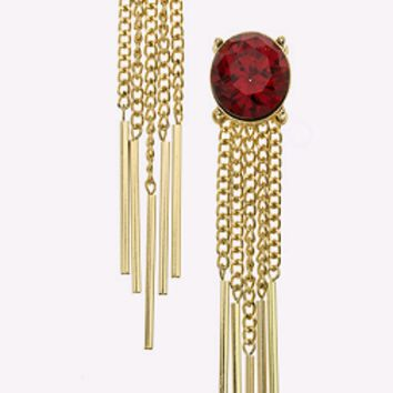 Over-sized Ruby Chain Earrings
