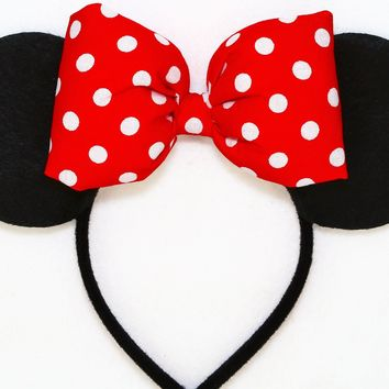 Classic Polkadots Collection - Black Minnie Ears with Fluffy Red Polkadots Bow