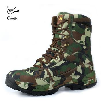 2018 New Army Desert Military Tactical Boots Outdoor Camouflage Hiking Shoes Boots Anti-skid Waterproof Lace Up Shoes Boots