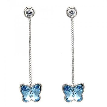 Rhodium Plated Long Earring, Butterfly Design, with Swarovski Crystals and Cubic Zirconia, Rhodium Tone
