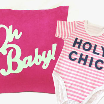 Pink Baby Girls Gift. Oh Baby Fuchsia Nursery Pillow Cover. Holy Chic Stripes Onesuit Bodysuit. Modern Chic Typography Baby Shower Gift Set