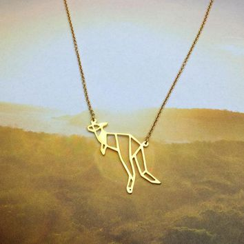 New Trendy Gold Silver Personalized Kangaroo Origami Necklace Animal Pendant Hunger Games Necklace Women Best Friend