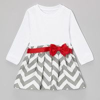 Red & Gray Zigzag Dress - Infant & Toddler