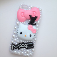 Cosmetics Pink Cat Crystallised Bling iPhone 5 Protective Cell Phone Case Cover