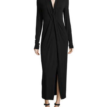 Women's Long-Sleeve Twist Jersey Dress, Black - Donna Karan - Black (MEDIUM)