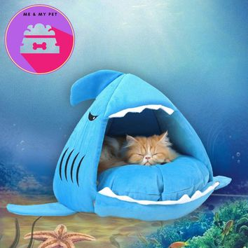Novelty Soft Dog Cat Bed Bule Grey Color Cartoon Shark Mouse Shape Washable Doghouse Pet Sleeping Bed With Removable Cushion