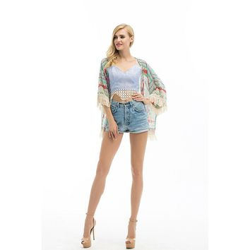 New Fashion Women Boho Fringe Floral Kimono Cardigan Tassels Cape Chiffon Three Quarter Shirt