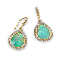 Gold Tone Earrings with Iridescent Green Drops and Crystal