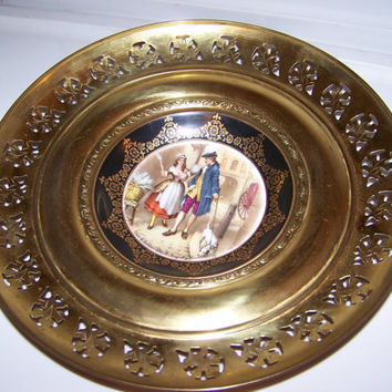 "Antique Regency Plate, Bone China & Brass, Wall Hanging, Made in England, Aries of London, ""Who'll Buy My Lavender"""