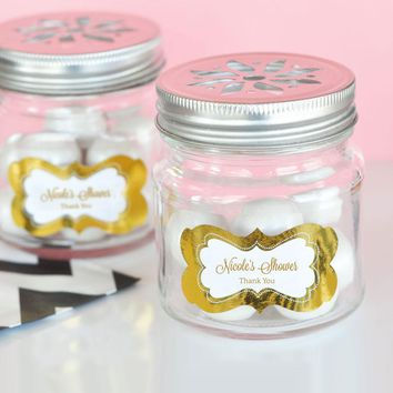 Personalized Metallic Foil Mason Jar Drinking Glasses with Flower Cut Lids  - Baby