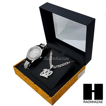 MEN WATCH EMOJI 100 PENDANT CUBAN LINK CHAIN NECKLACE GIFT SET SS86S