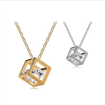 Unique & Cool Gold Colored Cube & Cubic Z. Gem Necklace