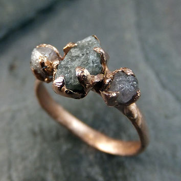 Raw Pink Diamond Rose Gold Engagement Ring Wedding Ring Custom One Of a Kind Gemstone Ring Rough Diamond Ring byAngeline