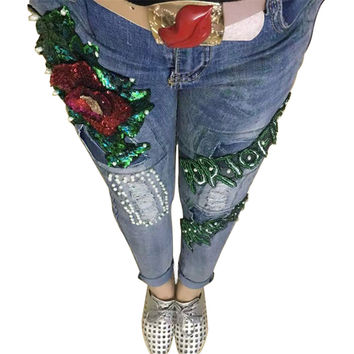LUCKY STAR Brand Rose Sequin Jeans Boyfriend Jeans For Women Flare Beads Hole Pantalones Vaqueros Mujer High Waist Ripped Jeans