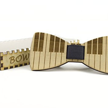 Piano Wooden Bow Tie Handmade with Artisan Wooden Box by Bow Tied Wood