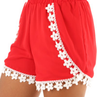 Picked For Me Shorts: Red/White