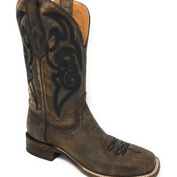 Corral Brown Embroidery Square Toe Leather Boots