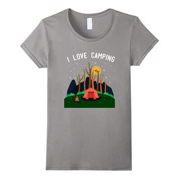 I Love Camping T-Shirt Wilderness Outdoors Campfire Tent