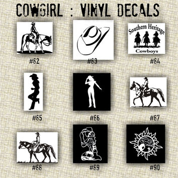 COWGIRL vinyl decals - 82-90 - personalized vinyl sticker - custom car window sticker - vinyl sticker - truck window sticker - car decal
