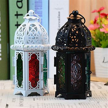 1 PC Classic Moroccan Decor Candle Holders Votive Iron Glass Hanging Candlestick Candle Lantern Party Home Wedding Decor
