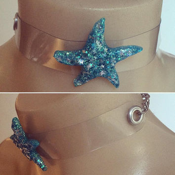 magical star choker handmade resin jewelry resin jewellery pastel goth pastel grunge mermaid choker star fish kawaii fairy kei harajuku