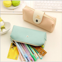 Fresh Solid Candy Color Mustache Pattern Pu Leather Pencil Bag Pen Bag Fod