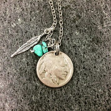 Buffalo Nickel and Feather Necklace