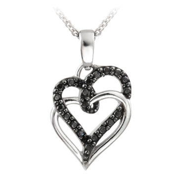 Sterling Silver Black Diamond Accent Double Intertwining Open Hearts Necklace