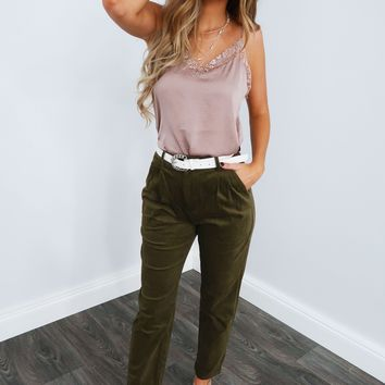 Lace Along Tank: Taupe