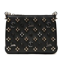 Wiberlux Christian Louboutin Women's Metal Logo Pointed Stud Detail Real Leather Chain Strap Bag
