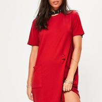 Missguided - Red Distressed Pocket T-Shirt Dress