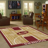 Oklahoma University Basketball Court Rug