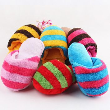 6 Colors Dogs Toy Puppy Chew Play Cute Plush Slipper Shape Squeaky Toy for Dogs Pet Su