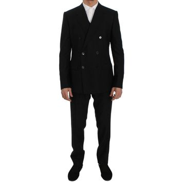 Dolce & Gabbana Black Wool Double Breasted 3 Piece Slim Suit